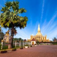 Golden pagoda Phra That Luang. Vientiane, Laos