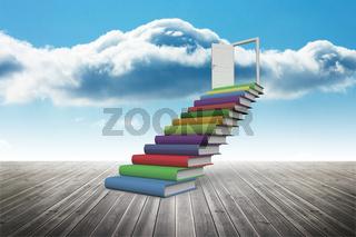 Book steps against sky