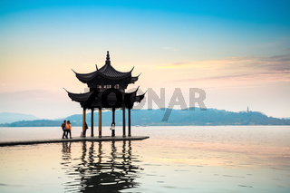 ancient pavilion in the west lake at hangzhou