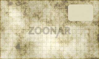 Altes kariertes Papierblatt mit Etikette