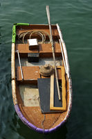 Fishing boat with straw hat
