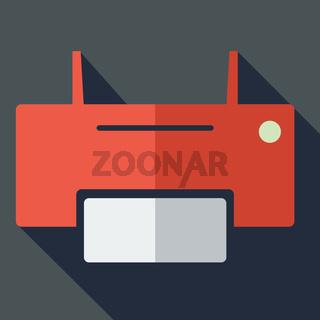 Modern flat design concept icon printer. Vector illustration.