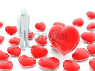 Man and many beautiful red hearts