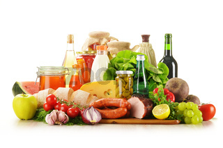 Composition with variety of grocery products including vegetable