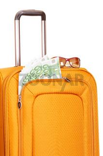 Suitcase with money isolated on white background