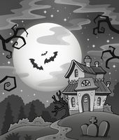Black and white haunted house - picture illustration.