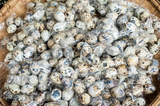 Quail eggs packed for sale at asian market