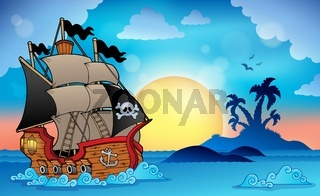 Pirate ship near small island 3 - picture illustration.