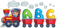 Train with three letters - picture illustration.