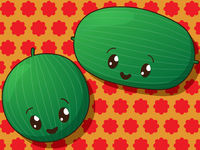 Kawaii  watermelon icons