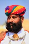 Portrait of indian man taking part in Mr Desert competition, Jaisalmer, India