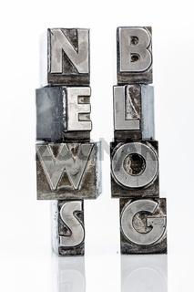 News und Blog mit Bleibuchstaben