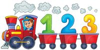 Train with three numbers - picture illustration.