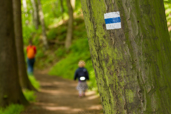 Trekking sign on a tree with Family hiking