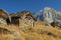 Shephard stone hut in the Val d'Hérens valley