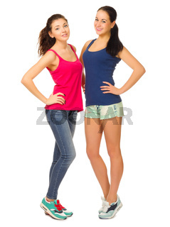 Two sporty girls isolated on white