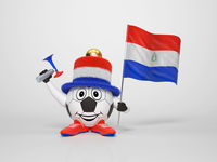 Soccer character fan supporting Paraguay