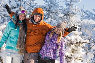 Friends enjoy winter holiday break snow mountains
