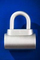 padlock on blue
