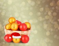 Christmas ball in the hat of Santa Claus  on the abstract background with blur boke