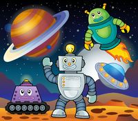 Space theme with robots 1 - picture illustration.