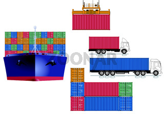 Container Transport Logistik.eps