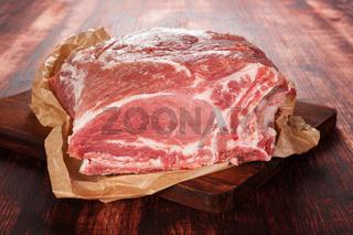 Fresh pork neck.