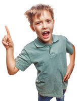 shaggy kid blond boy raised thumbs up is good idea to come up is