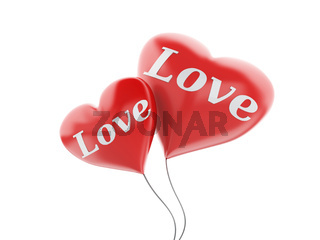 3d red heart balloons. valentine's day concept isolated on white background