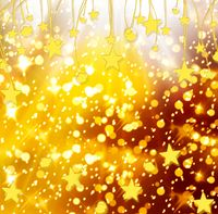 Christmas snowy background with gold and white stars