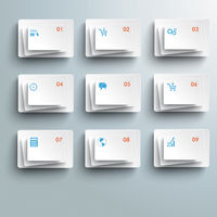 9 Abstract White Rectangles Infographic PiAd