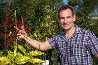 Farmer or gardener looks at bush with berries