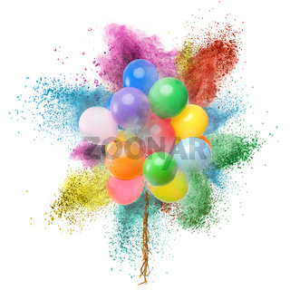 Color balloons and powder explosion isolated on white
