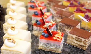 Cake displayed in confectionery or cafe