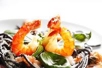 Black spaghetti with seafood