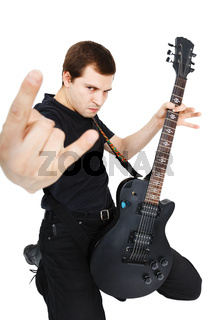 Man with an electric guitar