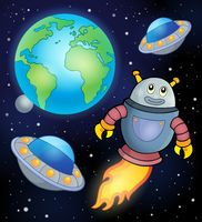 Space theme with flying robot - picture illustration.