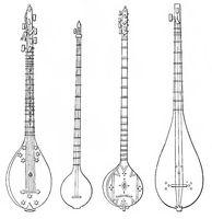 various forms of the tanbur or tambur, ancient oriental Lute