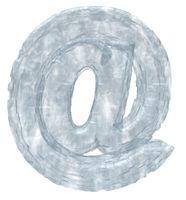 email-alias aus eis auf weißem hintergrund - 3d illustration