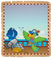 Parchment with pirate ship deck 6 - picture illustration.