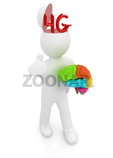 3d people - man with half head, brain and trumb up. 4g modern internet network