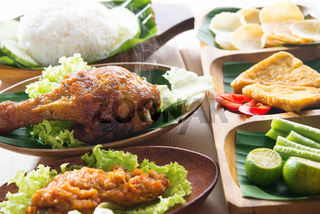 Popular Indonesia fried chicken rice