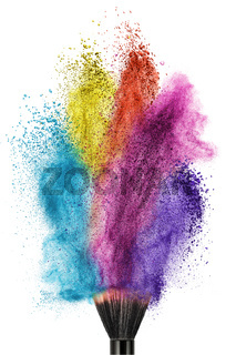 makeup brush with color powder isolated