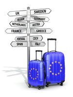 Travel concept. Suitcases and signpost what to visit in European Union