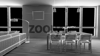 Interior render of a dining room without materials