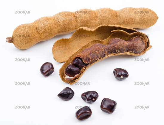 Dried Tamarind Fruits On White Background