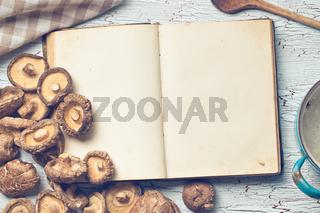 blank cookbook and shiitake