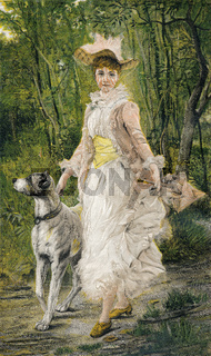 women and dog