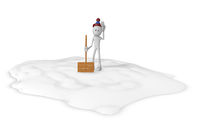 cartoonfigur mit schneeschieber - 3d illustration