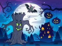 Scenery with Halloween thematics 2 - picture illustration.
